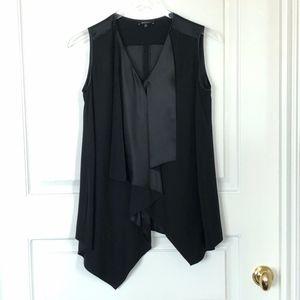 Black silk Hankerchief Bottom Sleeveless Top